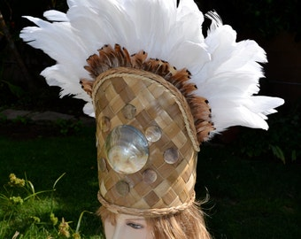 White feather headdress with mother of pearl shells