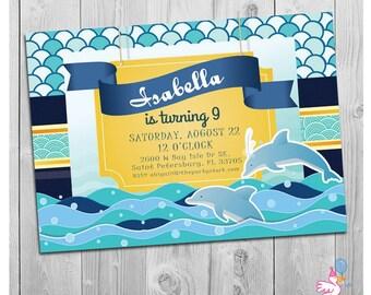 Dolphin Invitations, Dolphin Party, Printable Dolphin Birthday Party Invitations