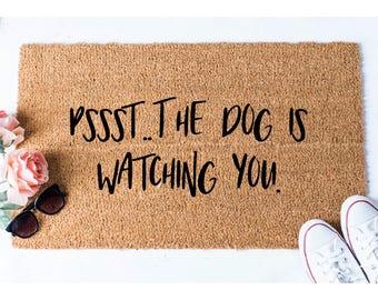 Dog is Watching You Doormat - Dog Doormat - Funny Doormat - Funny Doormats - Welcome Mat - Goldendoodle Doormat - Funny Mat - Quote Doormat
