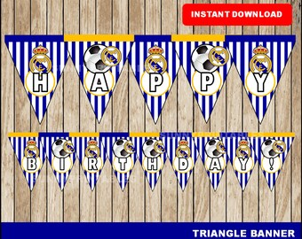 Real Madrid triangle banner; printable Real Madrid banner, Soccer party banner instant download