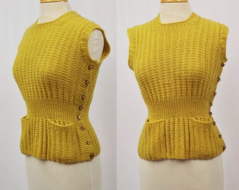 1930's Yellow Knit Sweater with buttons