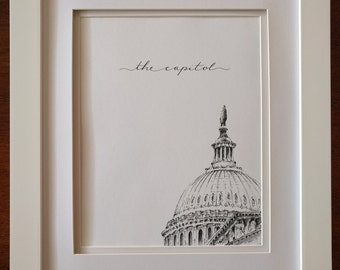 The Capitol - Print of Pen & Ink Architecture Sketch - 'Rooftops of DC' Series