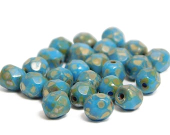 6mm - Fire Polished Beads - Picasso Beads - Round Beads - Czech Glass Beads - Blue Beads - 25pcs - (1720)