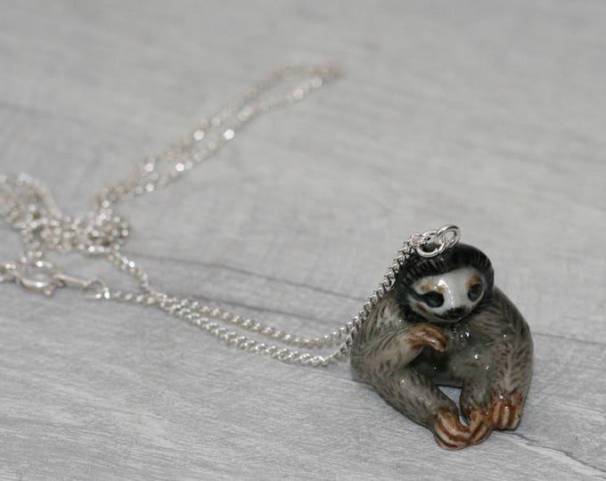 Porcelain Sloth Necklace, Animal Necklace
