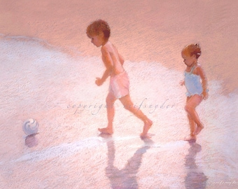 Beach greeting card, boy and girl at the seashore, 5x7, children playing ball, blue, pink, seaside, brother and sister, kids running, shore