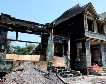 Burned Down House In Detroit Photo Print
