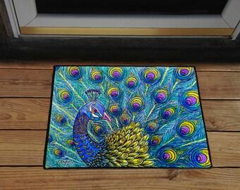 """Peacock 18"""" x 24"""" Door Mat, Floor Mat, Home Decor"""