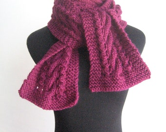 Magenta Cable and Lace Vegan Scarf Knit Scarf Fall Fashion Knitted Scarf Cable Knit Scarf Winter Scarf
