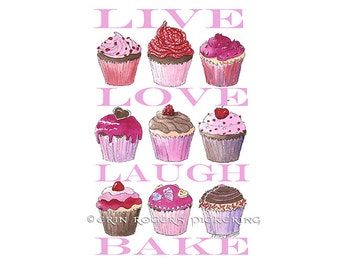 Cupcakes Art Print 8x10 with quote Live Love Laugh