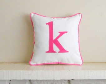 small initial pillow cover - custom colors - monogram cushion - letter pillow - alphabet - lower case letter / small letter monogram