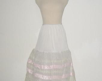 60s Vintage Tiered Lace & Ribbon Crinoline