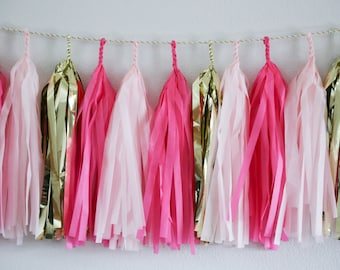 Pink & Gold tassel garland // wedding and party decoration