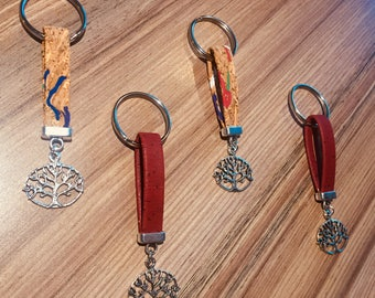 Cork Key Ring Red or Multicolor | Cork Keychain Red or multicolor