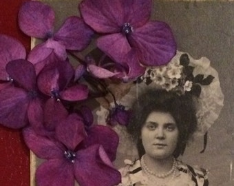 Antique Photo  - Woman  in a Costume - Flower Bedecked - Victorian Photo - Old Photo