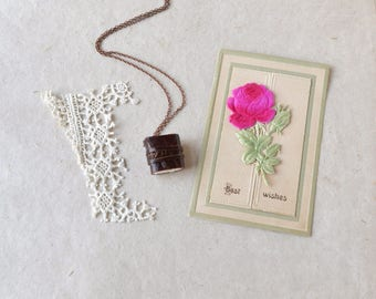 Brown Leather Book Necklace