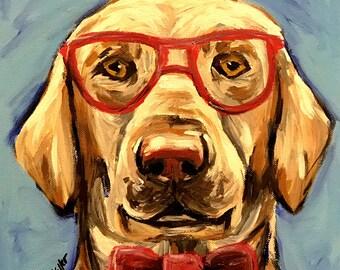 Yellow Lab Art Print.  Yellow Labrador Retriever canvas or paper art print. Whimsical Labrador retriever in glasses and bowtie.