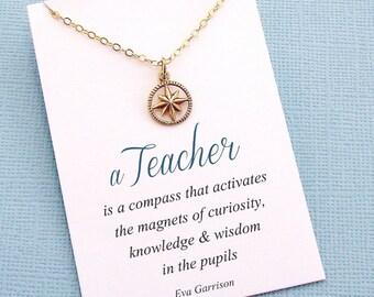 Teacher Gifts   Compass Necklace Teacher Gift, Graduation Gift, Mentor Gift, Gift for Teacher Appreciation, Inspirational, Class of 2018  T5