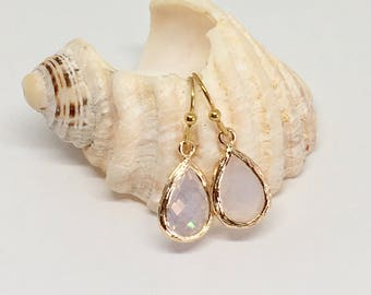 white glass crystal earrings, shabby chic, gift idea