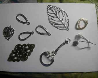 9 filigree connectors, Teardrop, Bronze, Losage, silver, leaf, lace prints