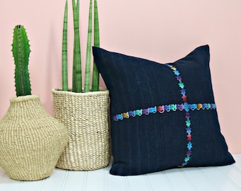 Guatemalan Throw Pillow Cover /Indigo Hand Embroidered Corte Red Green Pink Violet Artisan Made Ethically Sourced Various Sizes Loom Woven
