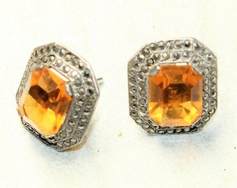 Sterling Silver Marcasite and Yellow Rhinestone Diamante Sparkly Pierced Stud Earrings (c1960s)
