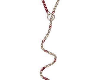 CASUAL PLAY - Ultra Long Chain Lariat w. Long Leash a. O Ring - Glamour Slave Collar - Silver & Red