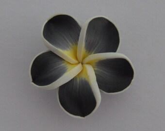 2 beads pressed 34x11mm black white yellow - Ref: PF 700
