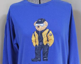 Polo Bär Ralph Lauren Unterschrift Langarm T Shirt Jeans Biker Boots M Baumwolle Royalblau Polo Teddybär Watch Gürtel Sonnenbrille Hut