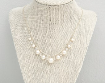 Pearl Bridal Necklace, Pearl Wedding Necklace, Crystal Pearl Necklace, Wedding Jewelry