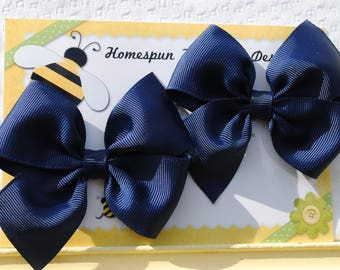 Navy Ribbon Hair Ties Blue Pigtail Bows Nautical No Slip Hair Clips Patriotic Blue Hair Bows for Toddlers Ribbon Bows Baby Bow Clip Gift Set