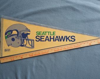 Vintage Seattle Seahawks 1980s 2-Bar Helmet Pennant - Nice/With Sleeve - Free Shipping!