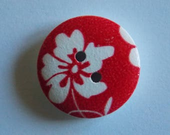 Pretty flower button and white background Red