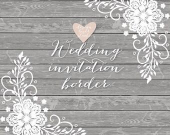 Premium VECTOR Lace Border Rustic Wedding Invitation Frame Clipart White