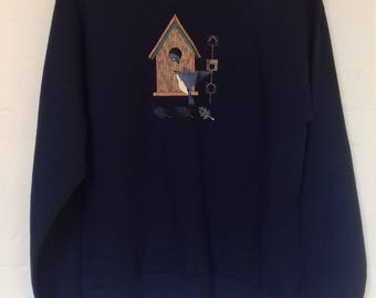 1980's jumper with nesting bird patch/embroidery and pretty collar - S/M