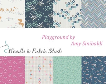 Art Gallery Fabrics - Playground Fabric by Amy Sinibaldi - Fabric Bundle - 8 Fat Quarters or 8 Half Yards