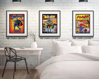 COMIC BOOK Art-  3 Print Set - Art for Nerds - Free Shipping - Black or White Frame - Available In 4 Sizes - Geek Art - Vintage Comics