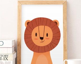 Lion illustration, Kids room art, Cute animals print, Animals wall art, Wall art, Baby room wall art, Safari prints, Cute wall decor