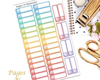 Book Planner Stickers/Library Blank Stickers/ Erin Condren/ Plum Paper/ Inkwell Press/ Happy Planner/ Functional Stickers  #150