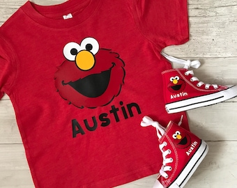 Elmo, Cookie Monster, Big Bird, Abby, Sesame Street shirt birthday personalized boy or girl outfit