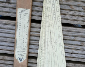 Vintage Surveyor's Set of 8 Varnished Card Scales. Reeves' Original Box