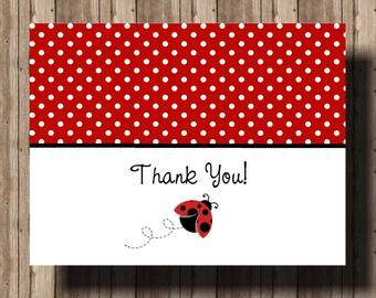 LADYBUG THANK YOU Card Notecards for Girls/Boxed Set of 10 Folded Cards/Red Polka Dot Ladybug Stationery/Ladybug Party/Personalization Avail