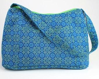 Blue and Green Medallion Fabric Purse, Fabric Handbag, Casual Purse, Shoulder bag
