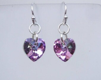 Purple Vitrail Swarovski crystal heart earrings - Sterling Silver