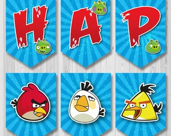 Angry Birds banner, Angry Birds Printable banner, Angry Birds banner instant download, DIY