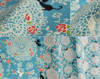 2627 - Japanese Zakka Cat Kitty Rose Floral Lace Cotton Linen Blend Fabric - 55 Inch (Width) x 1/2 Yard (Length)