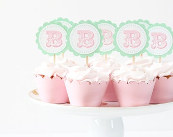 Girls First Birthday Cupcake Toppers Pastel Circus Party Supplies Pink and Mint Green Letter Initial Cupcake Topper Carnival 1st Birthday