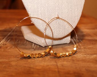 Beaded Gold Thin Hoop Earrings | Thin Gold Hoop Earrings, Gold Hoop Earrings, Thin Hoops, Hoop Earrings, Gold Hoops