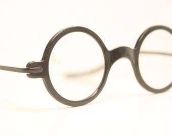 Antique Round Black Eyeglasses