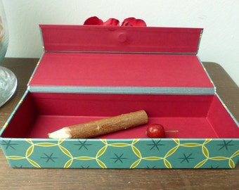 Pencil case, Pen box small, Treasure Box, box with lid magnetic, desk box, box flat, Retro blue