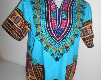 Tunic DASHIKI ANGELINA blue hooded (slim)